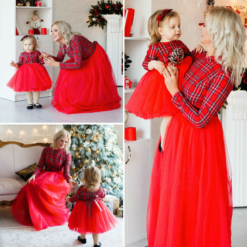 Gran oferta, ropa a juego para Familia, vestido para madre e hija, vestido largo a rayas rojas con lazo a la moda, vestido largo dividido Shein