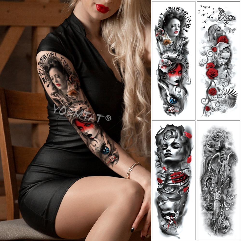 Manga de tatuaje para brazo grande ojos de zorro mariposa Rosa impermeable falsos temporales tatuaje pegatina calavera Ángel alas hombres mujeres Tatto completo