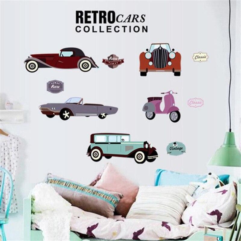3D dibujos animados retro Coche Diy Adhesivo de pared para niño regalo película poster arte mural pegatinas de pared para habitaciones de niños