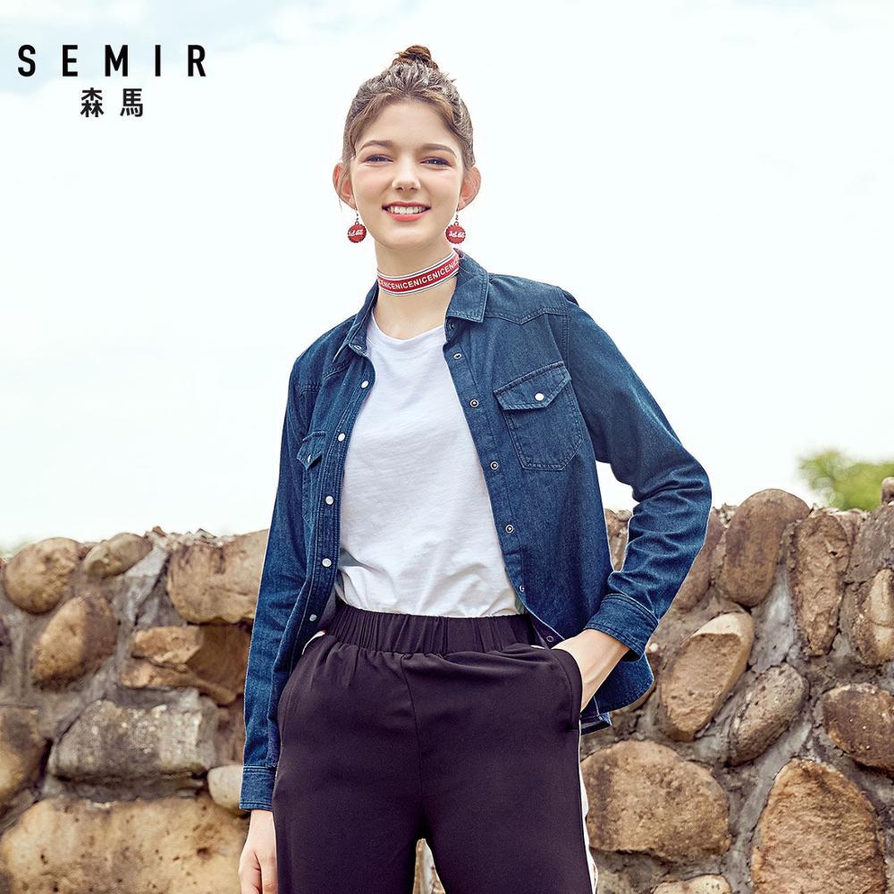 Camisa vaquera de algodón de 100% para mujer de SEMIR, blusa con bolsillo en el pecho para mujer, cuello superior, cintura cónica