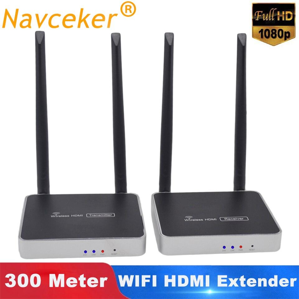 2020 mejor 300m transmisor receptor inalámbrico HDMI con Control remoto IR 5GHz HDMI extensor inalámbrico 1080P WIFI receptor emisor