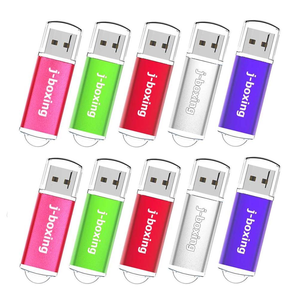 J-boxing 10PCS 64MB USB Flash Drive Rectangle Thumb Pen Drive USB 2.0 Pen Stick Pendrives with Cap for PC Laptop Tablet 8 Colors
