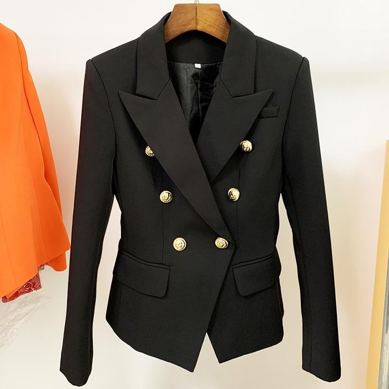 TOP QUALITY Blazer Women 2021 Slim Black Blazer Jacket Female Double Breasted Metal Lion Buttons Bla