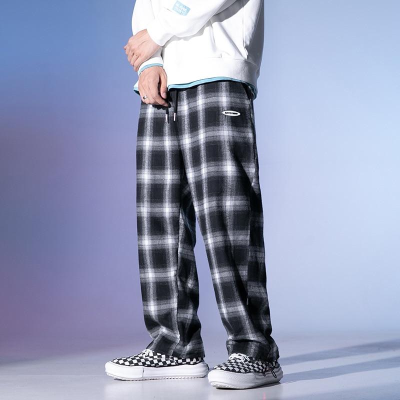 Осенние мужские клетчатые брюки, модные уличные трендовые черно-белые клетчатые повседневные спортивные брюки на шнуровке, мужские брюки в...