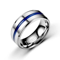 new couple ring european and american fashion pop blue titanium steel smooth ring simple couple ring