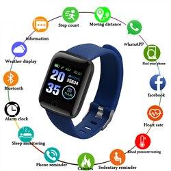 116 плюс Смарт-часы для мужчин и женщин, браслет, монитор сердечного ритма, кровяное давление, фитнес-трекер, умные часы, спортивные часы для Ios Android