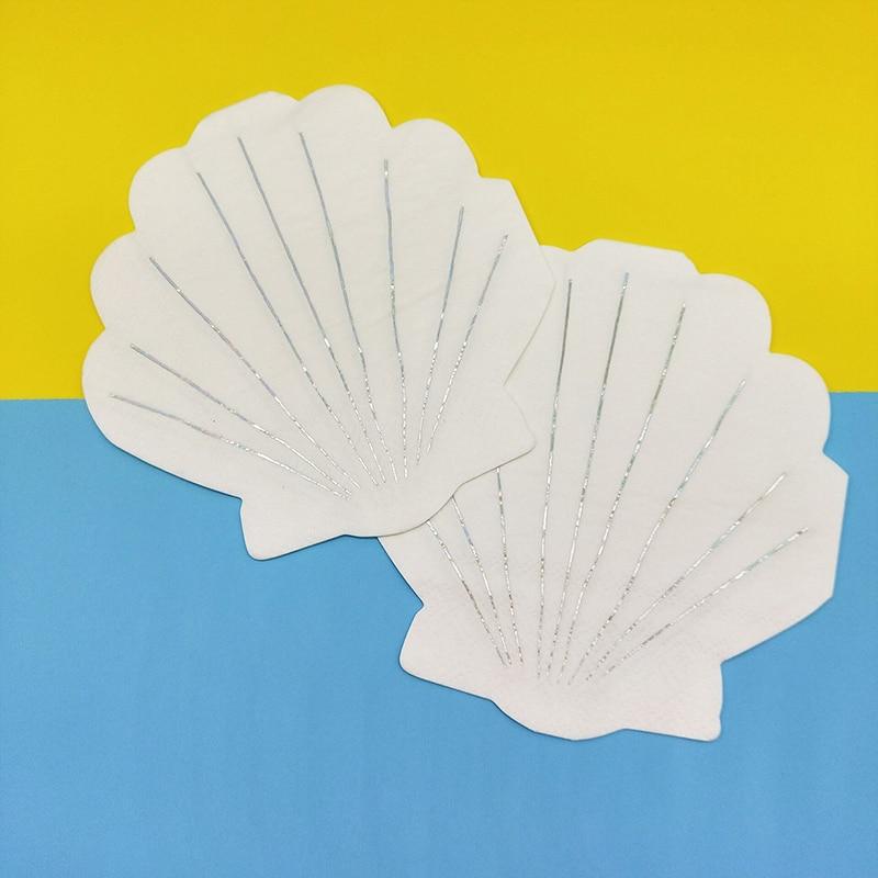 60 servilletas de papel de postre para cena, decoración con forma de concha para 1ª Decoración de cumpleaños, fiesta de bienvenida para niña, 25x25cm