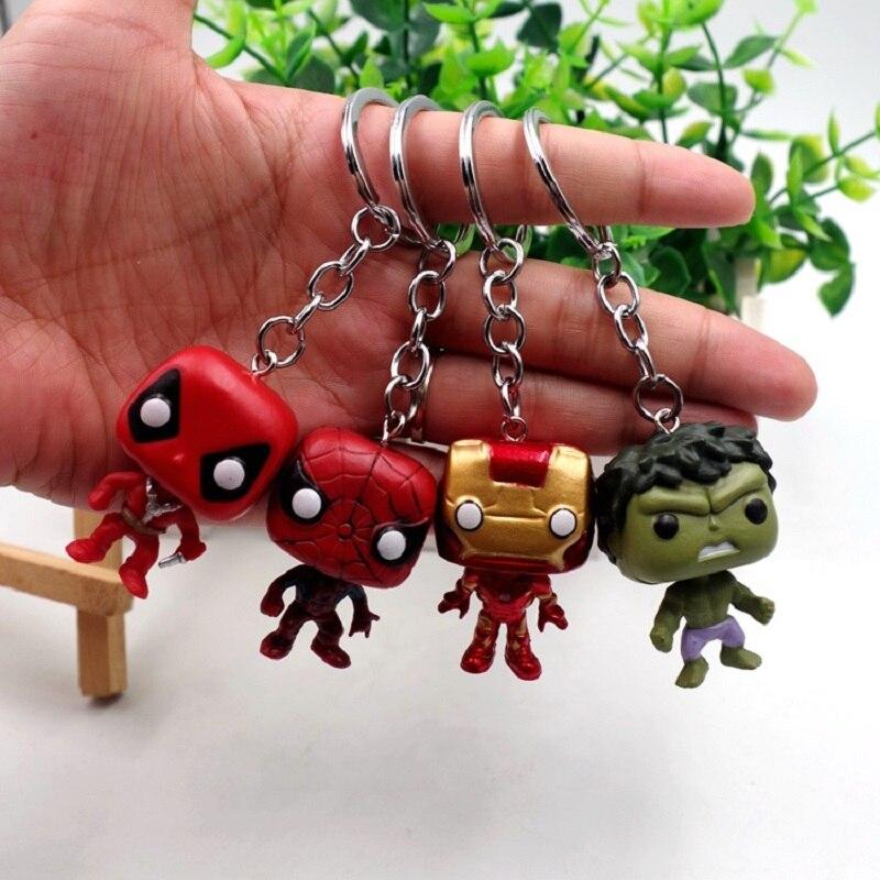 POP 4 pcs/lot Marvel Super Heroes Action Figures Vinyl Dolls Keychain Thor Thanos Spider-Man Hulk Iron Man Avengers Bag Pendant