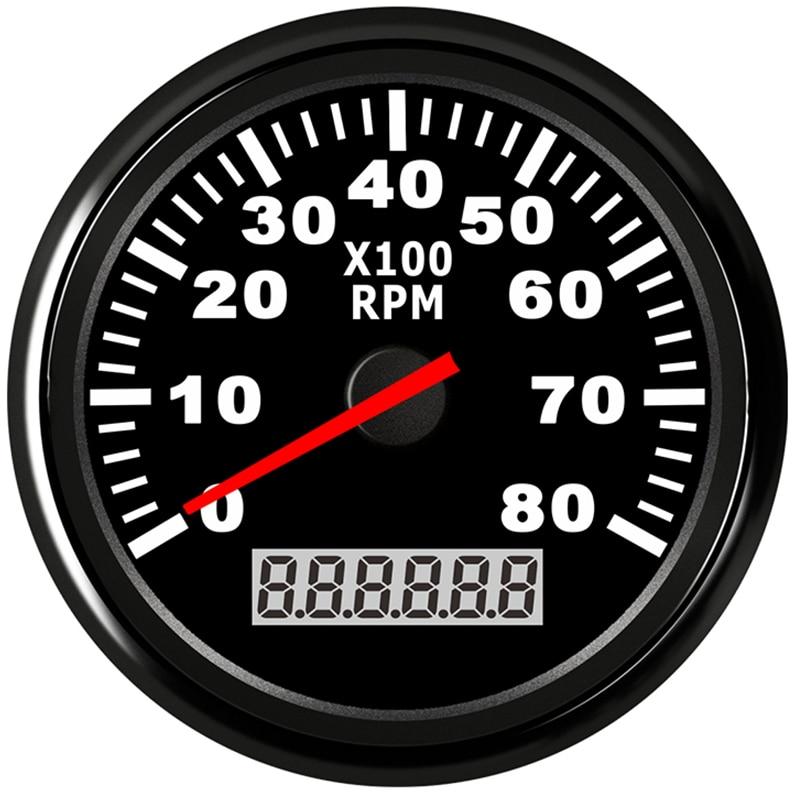 Boat Tachometer Marine Tacho Meter Gauge LCD Hourmeter 8000 RPM 85mm Car Tachometer 12V/24V  Red Backlight