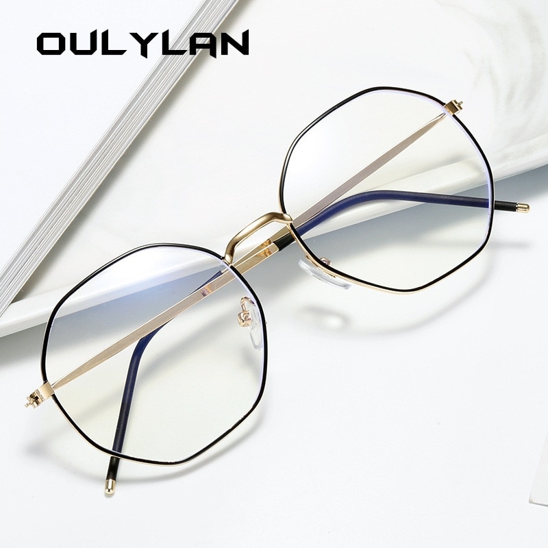 Oulylan Anti Blue Light Glasses Frame Women Polygon Metal Eyeglasses Frames Men Clear Lens Myopia Optical Computer Eye Glasses