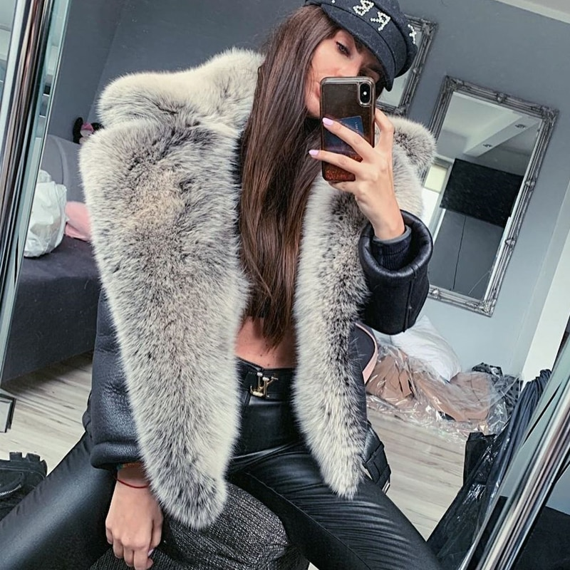 Natural Real Fox Fur Coat Genuine Sheep Leather High Quality 2021 Winter Women Whole Skin Fox Fur Coats Leather Jacket Outwear
