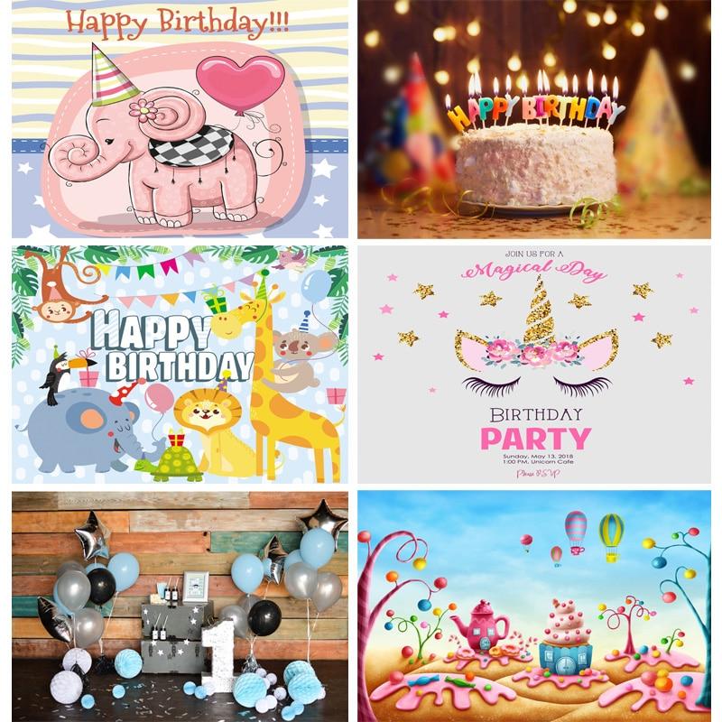 Детский день рождения мультфильмы фон для фотосъемки для новорожденных портретный фон для фотосъемки с изображением вечерние студия Photocalls...