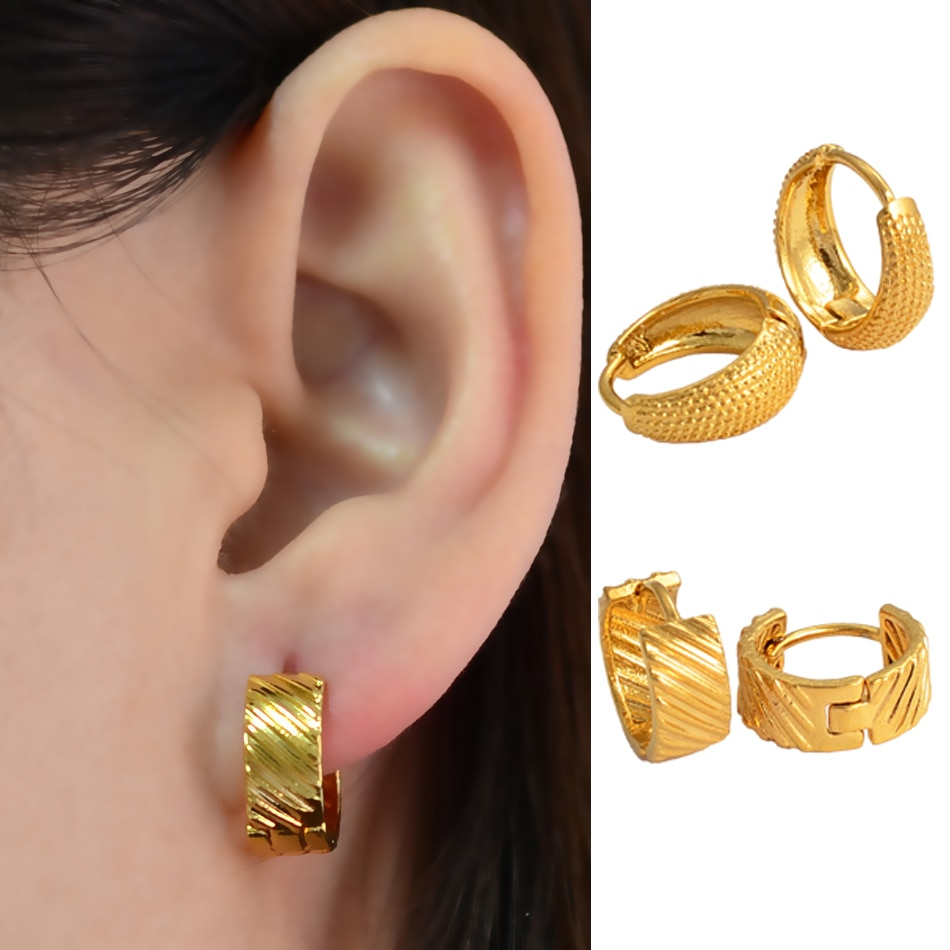 Color dorado anniyo Stud pendientes para las mujeres chicas precios al por mayor para Arabia Saudita, África, Oriente Medio accesorios boda regalo #121106