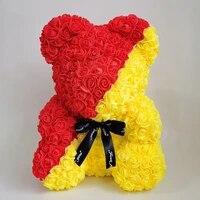 Ourson en roses  drapeau national  fausses fleurs  pour noel  pour la saint-valentin  pour decorer la maison  pour un mariage bricolage a faire soi-meme