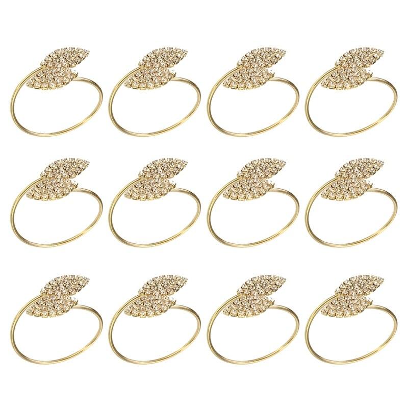 منديل الدائري ، 12 قطعة حلقات معدنية للمناديل حامل لحفل زفاف عشاء الجدول الديكور (ورقة-الذهب)