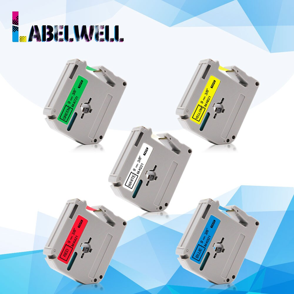 Labelwell de 9mm, cinta de la cinta de etiqueta MK-221 MK-421 MK-521 MK-621 Compatible para hermano MK 221 M-K221 para PT-80 PT-70 etiqueta fabricantes