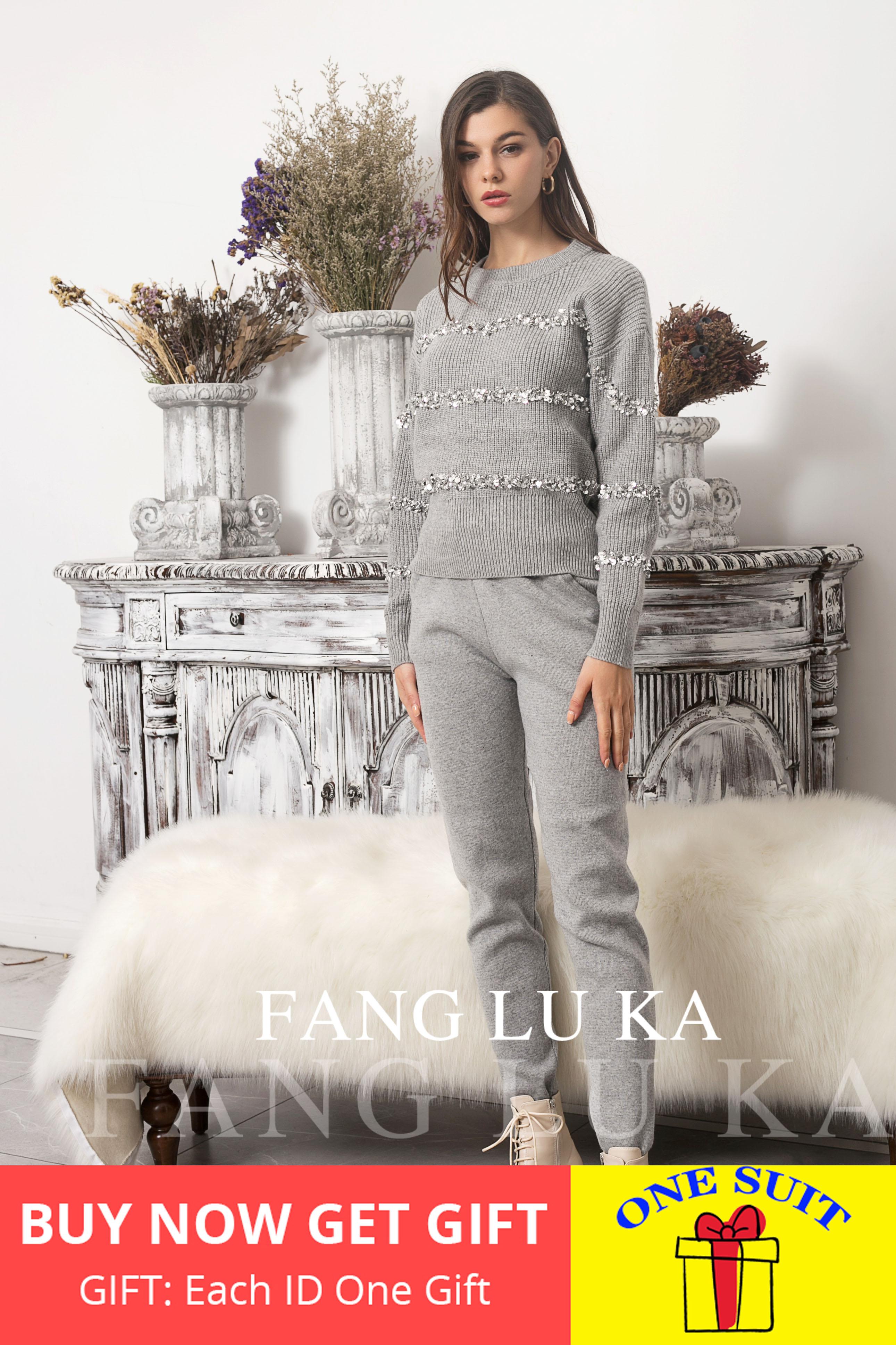De Punto traje de mujer nueva moda exterior estilo lentejuelas jersey con abalorios polainas conjunto de dos piezas