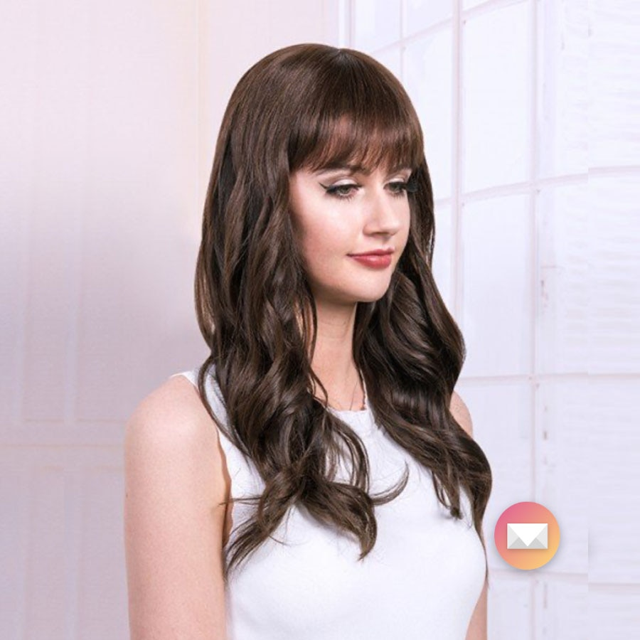 Hairpiece com Franja Marrom Europeu Cabelo Humano Judeu Topper 7 x8 Multidirecional Pele Superior Sheitels Kosher Leve Ondulado Cor