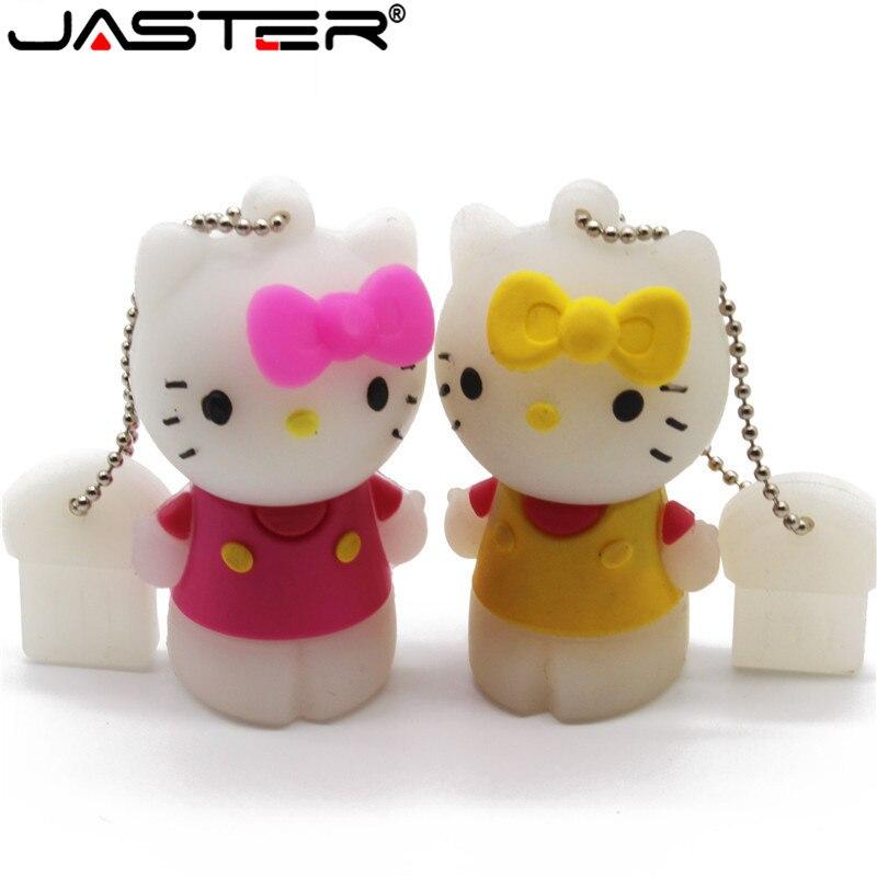 USB-накопитель JASTER Cartoon, маленький, 64 ГБ, милый, hello kitty, 4 ГБ, 8 ГБ, 16 ГБ, 32 ГБ, USB 2,0, флешка