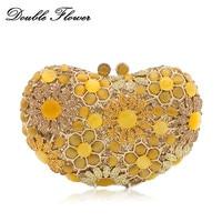 Double Flower Dazzling Socialite Yellow Opal Stones Heart Shape Women Crystal Clutch Bag Evening Minaudiere Handbag and Purse