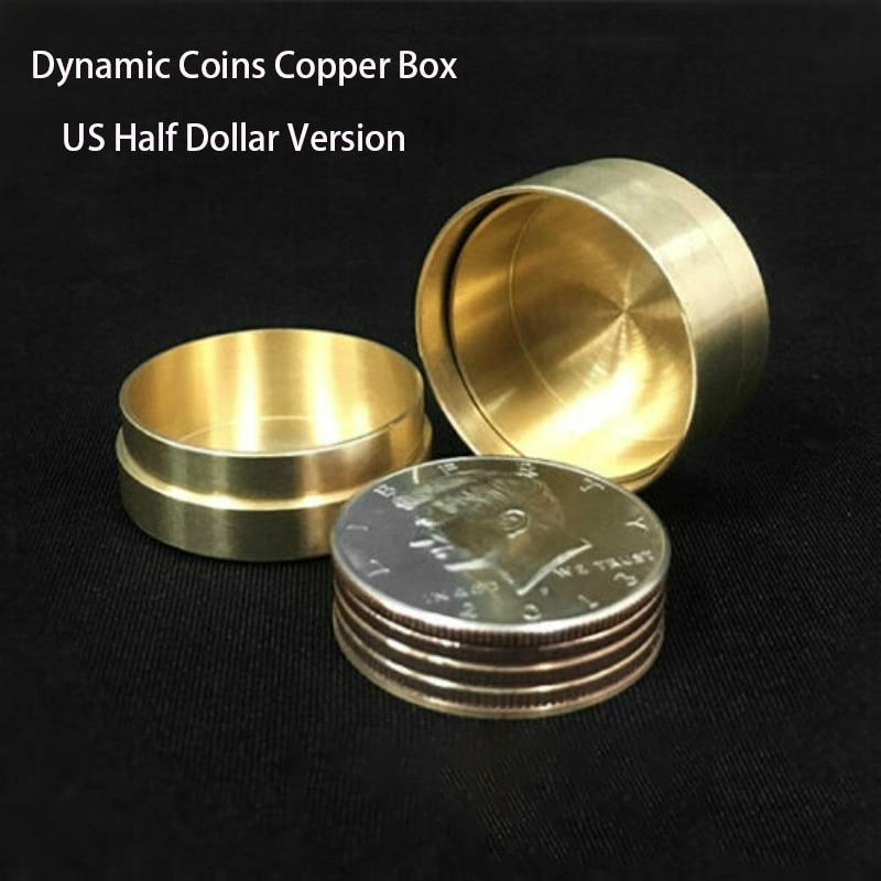 Copper Dynamic Coins - US Half Dollar (no coins) Magic Tricks Coin Appear Vanish Magia Magician Close Up Illusions Gimmick Props недорого