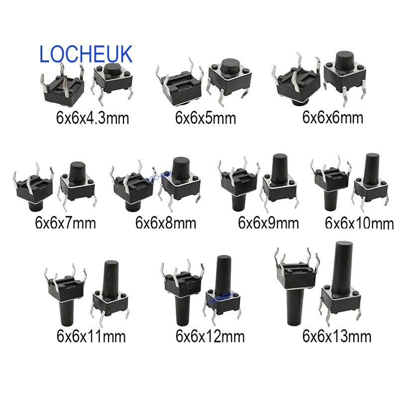 50 個 6 × 6 ミリメートルパネル PCB モメンタリ触覚タクトミニプッシュボタン自己リセット SMD スイッチ 4Pin DIP 6*6*4.3/5/6/7/8/9/10/11 /12/13 ミリメートル