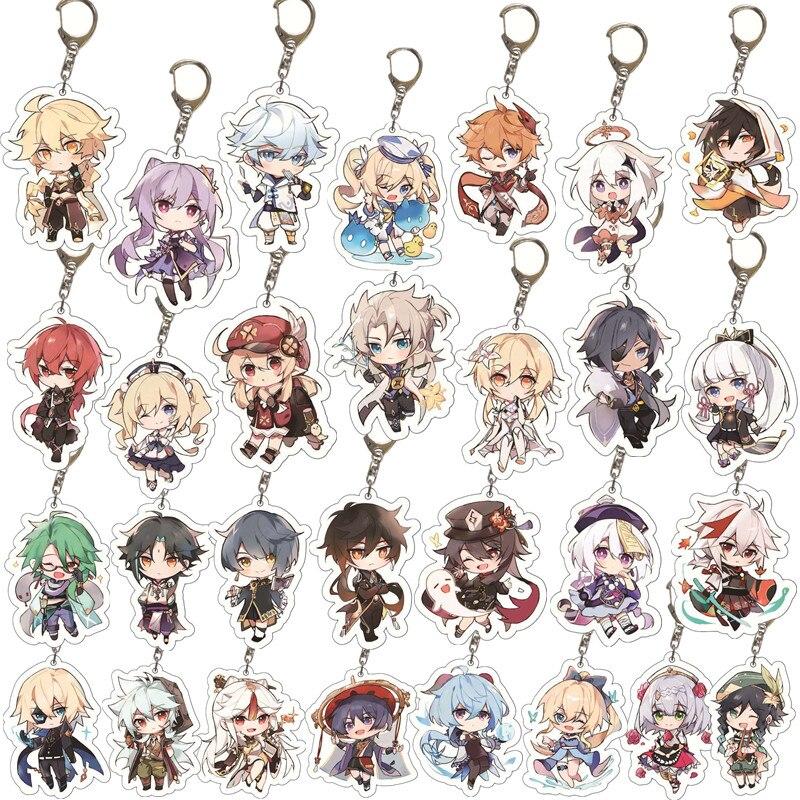 Game Genshin Impact Keychain Badge Accessories Paimon Cosplay Key Chain Cartoon Backpack Pendant Halloween Prop Christmas Gifts