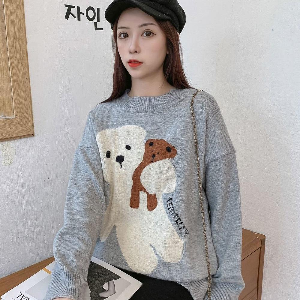 Teddy Bear Sweater Ladies Turtleneck O-Neck Loose Long Sleeve Sweater Lazy Style 2020 Autumn/Winter Sweater enlarge