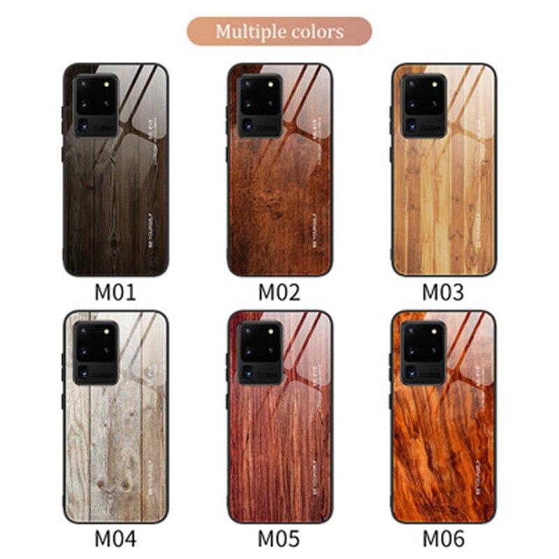 Para Samsung S20 Plus funda de teléfono móvil de cristal de grano de madera s10 / 9 / A91 / A71 note10 funda protectora creativa anticaída