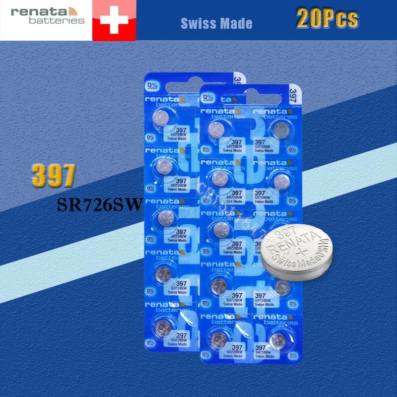 20 Xrenata óxido de plata pilas para reloj 397 SR726SW 726 1,55 V 100% marca original renata 397 renata 726 batería