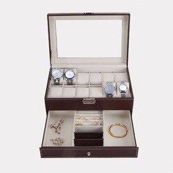 Removível 12 grades slots relógios caixa de armazenamento camadas duplas couro do plutônio relógio caso organizador caixa de armazenamento de jóias titular 2 cores