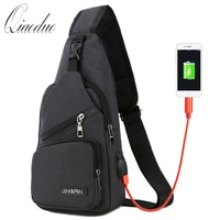 Qiaoduo Men's Shoulder Bags USB Charging Crossbody Bags Male Anti Theft Chest Bag Casual High Quality Travel Messengers Bag 2020