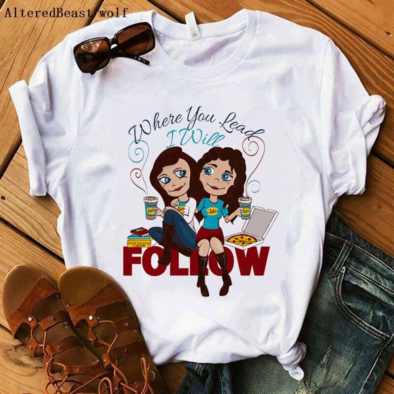 Gilmore Girls t shirt Women where you read I will follow print funny t shirt Women summer short sleeve clothes female vogue tees