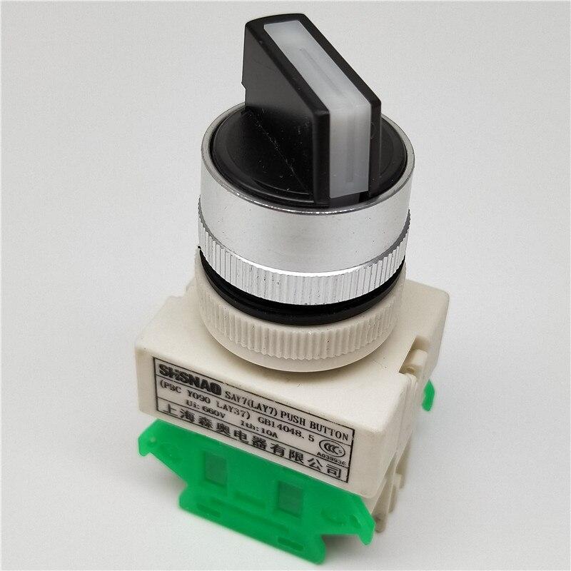 Поворотный переключатель ручка кнопка 22 мм 4 винта Клеммы 2 способ маленький размер 3 положения ВКЛ-ВЫКЛ LAY7 LAY37 Y090-20X3