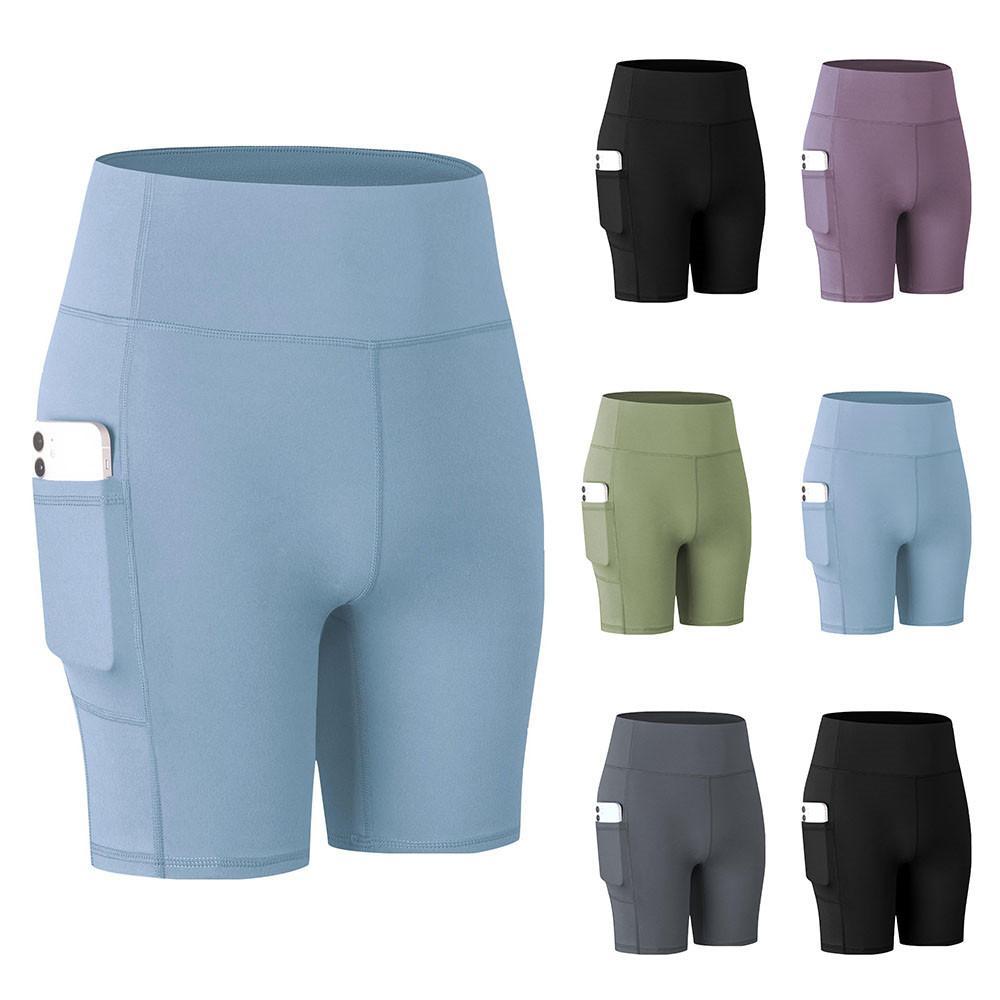 Женские шорты-Чино с высокой талией, спортивные Леггинсы для фитнеса, облегающие брюки для йоги с карманами