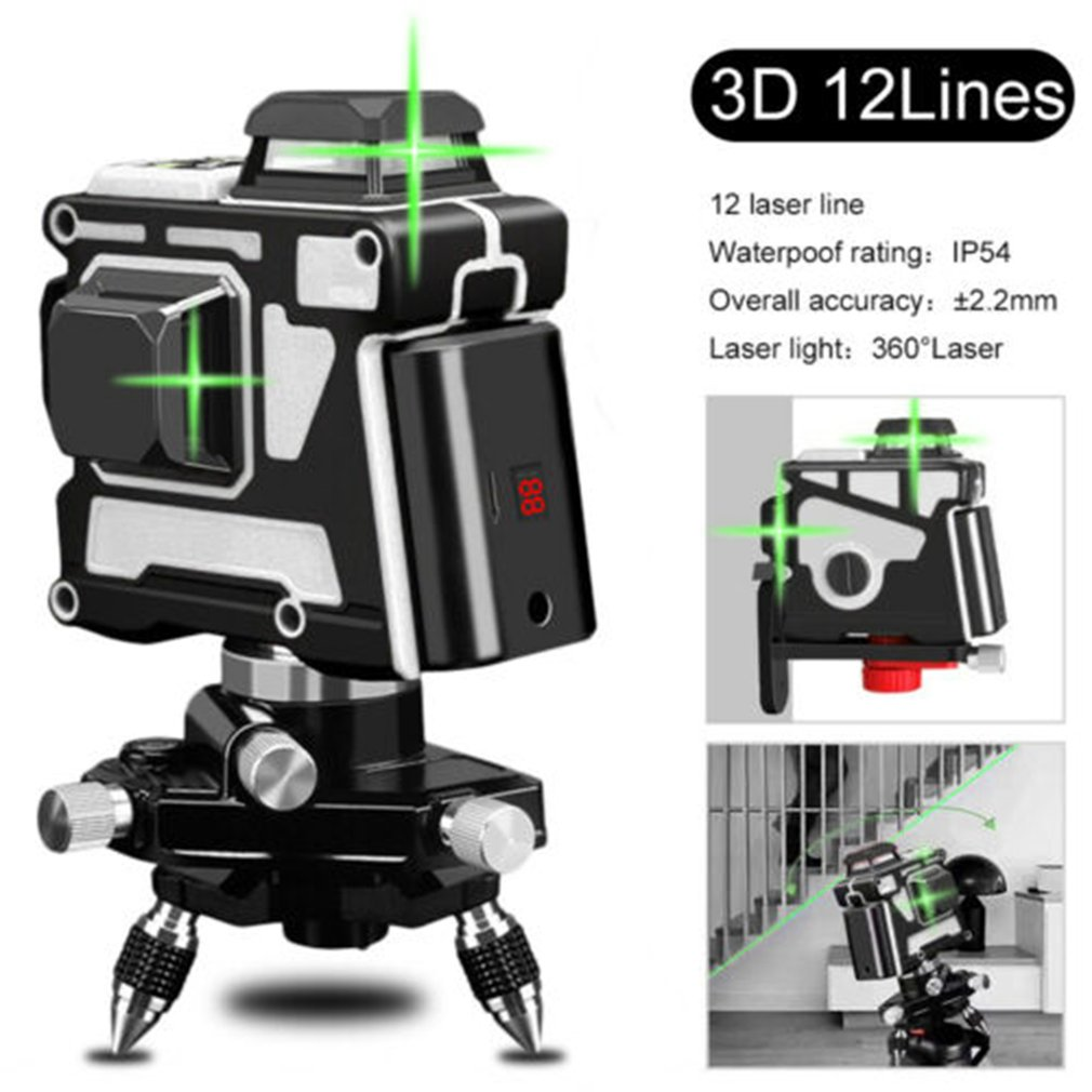 Laser Level 12 Lines 3D Self-Leveling 360 Horizontal And Vertical Cross Super Powerful Green Laser Beam Line 12 lines 360 3d green red laser level vertical and horizontal auto self leveling cross line purple coating laser