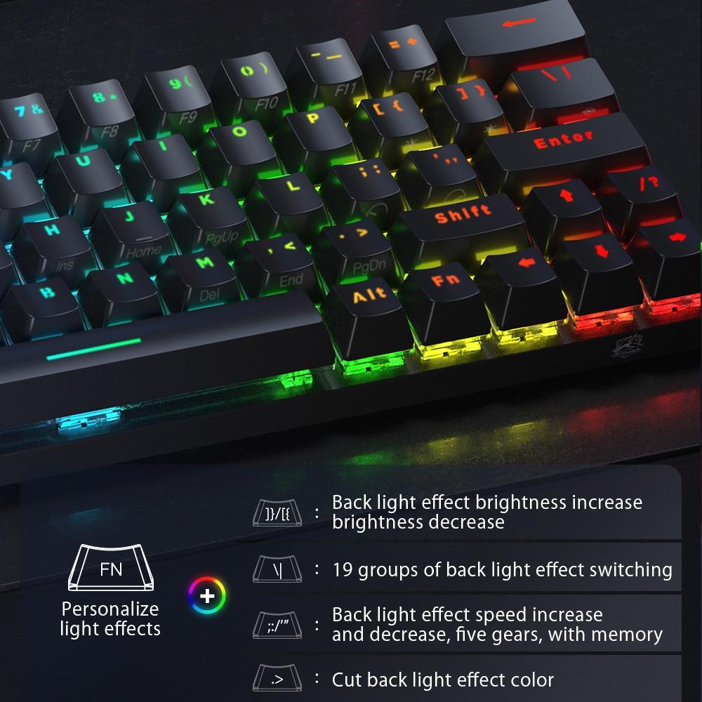 BlitzWolf BW-KB1 bluetooth-compatibleWireless Mechanical Keyboard Type-C Gaming Keyboard Gateron Switch RGB 63 Keys Brown Switch