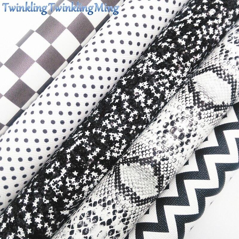 """Preto e branco tela do brilho, plaids tartan seta falso couro tecido folha para diy arcos a4 tamanho 8 """"x 11"""" cintilando ming xm087"""