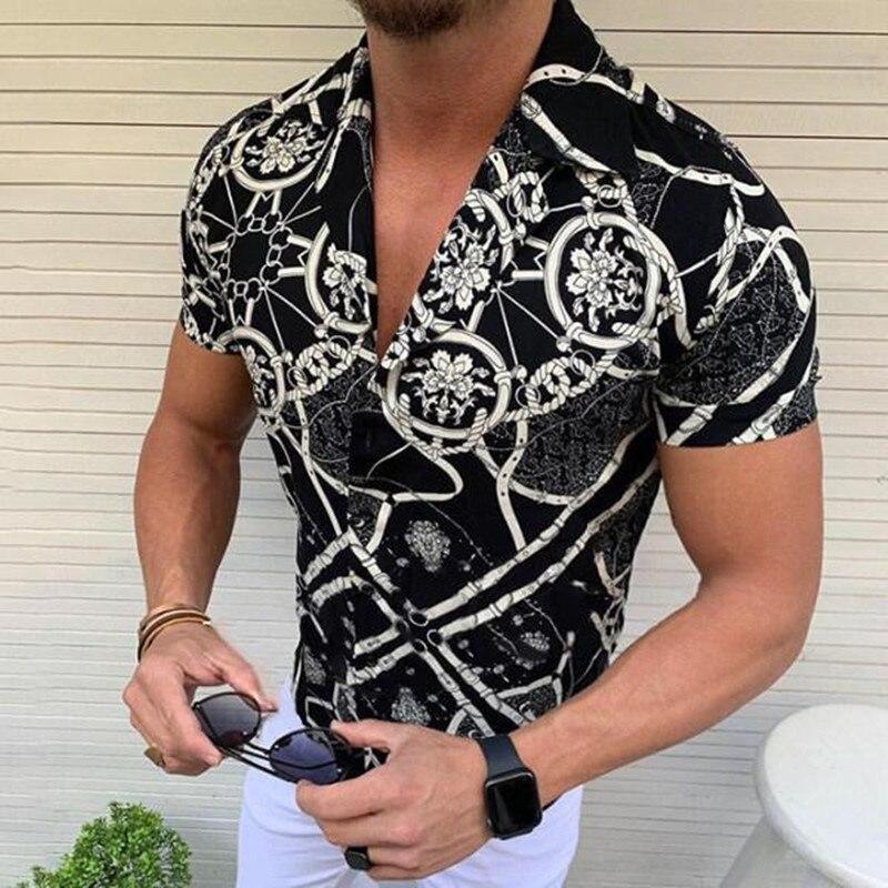 Рубашка мужская летняя с отложным воротником, Повседневная блуза с короткими рукавами, с принтом Пляжная рубашка на пуговицах, уличная одеж...