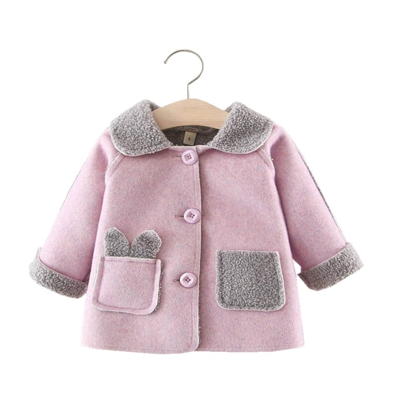 Abrigo térmico de terciopelo de invierno para bebé niña, forro polar grueso para niños recién nacidos, ropa de abrigo de Color puro de mezcla de algodón, abrigos y chaquetas de bebé de 1-4 años
