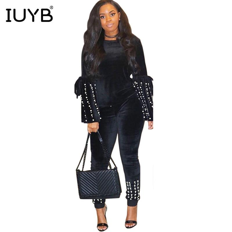 IUYB Spring 2019 Hot Mature Elegant Style Lady 2 Piece Set Solid Beading O-Neck Full Flare Sleeve Full Length Slim Set PN6091