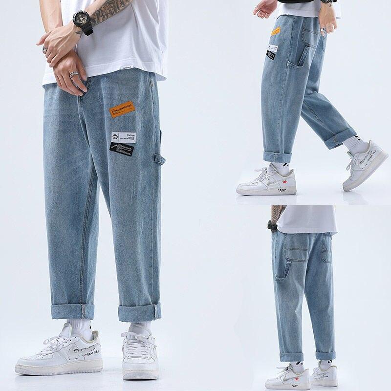 Мужские эластичные свободные джинсы, мужские брюки, новые стильные брюки), Мужская одежда, укороченные брюки, мужские брюки, джинсы, Мужские ...