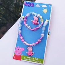 Świnka Peppa oryginalna figurka zabawki naszyjnik + bransoletka + pierścień lalki akcesoria Peppa zabawki świnki lalki naszyjnik prezent urodzinowy dla niej księżniczka