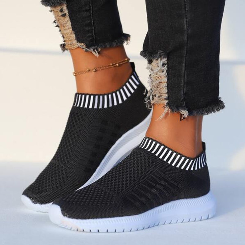 Vulcanized Shoes for Women Mesh Breathable Solid Color Casual Ladies Sneaker Non-Slip Flats Female R
