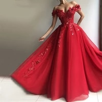 red off the shoulder prom dresses 2020 women formal party night vestidos a line appliques sequins tulle elegant evening gowns