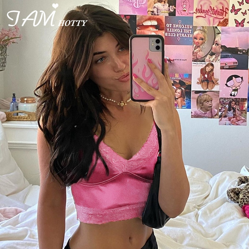 Iamhotty  90s Aesthetic Patchwork Lace Crop Top Women Harajuku Gym Streetwear Clothes Ladies Korean Vintage Croped T