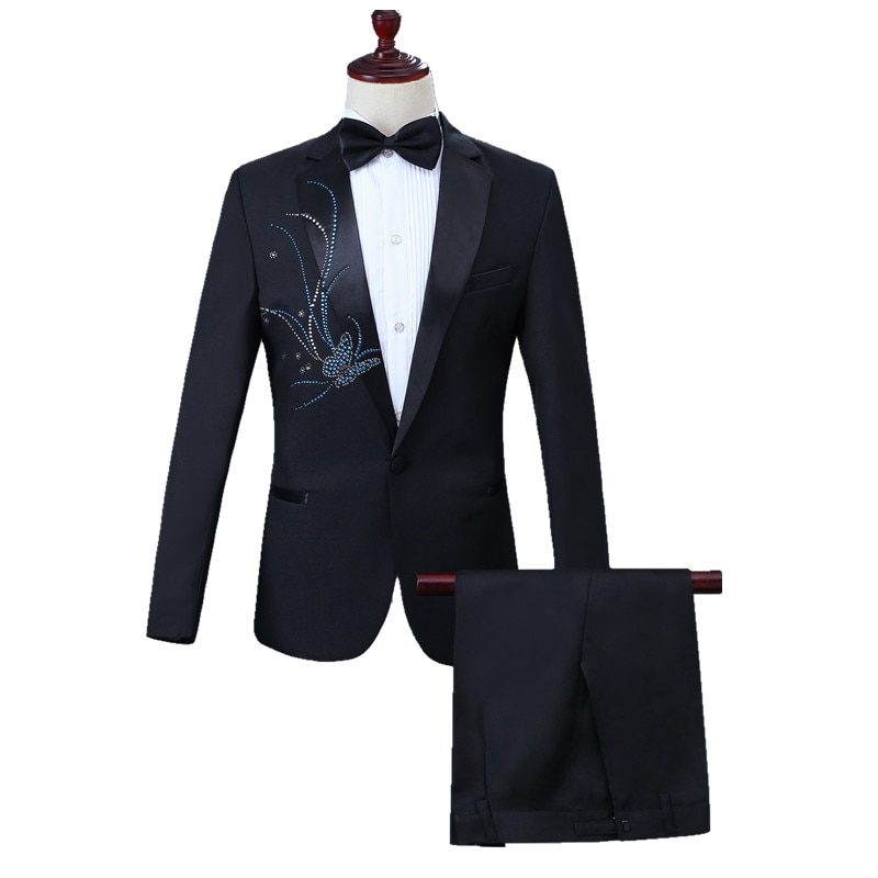 Men Crystal Slim Suit Blazer Set Chorus Group Stage Performance Singer Host Costume Coat One Button Tops 2 Pcs Banquet Outfit