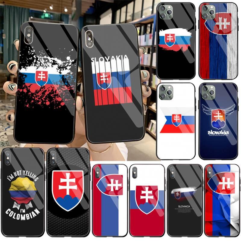 Funda de teléfono CUTEWANAN con bandera eslovaca de Eslovaquia, cristal templado para iPhone 11 Pro XR XS MAX 8X7 6S 6 Plus SE 2020