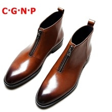 C·G·N·P British Style Handmade High-top Imported Genuine Leather Autumn Winter Shoes Men Ankle Bo