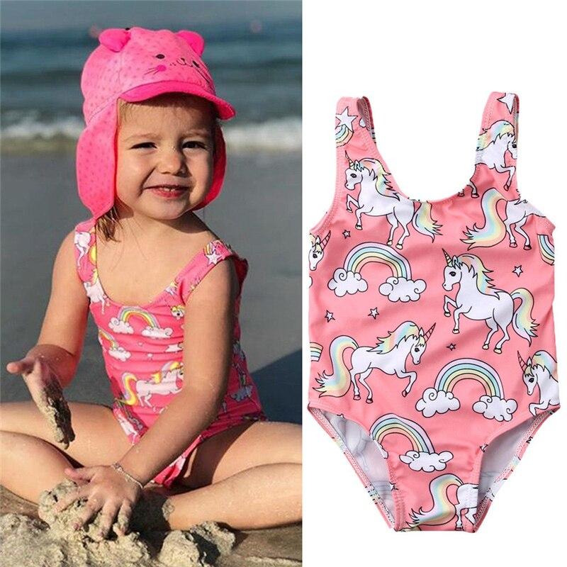 Unicornio una pieza traje de baño verano bebé recién nacido niños niña traje de baño natación Bikini niñas traje de baño ropa de playa
